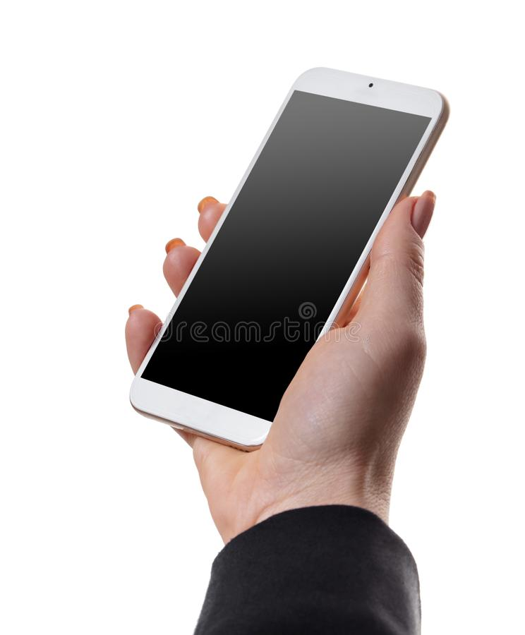 Mobile phone in female hand royalty free stock photos