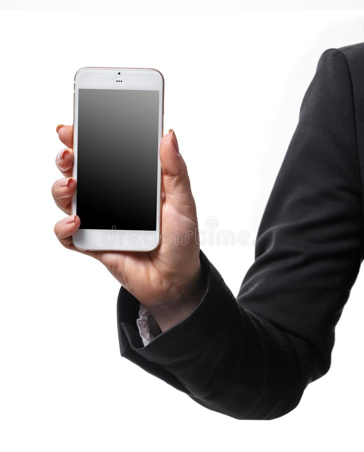Mobile phone in female hand stock photo
