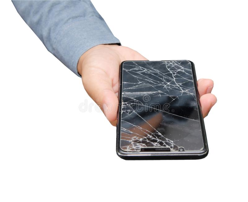 Mobile phone film broken on hand from accident. Isolated on white background royalty free stock photo