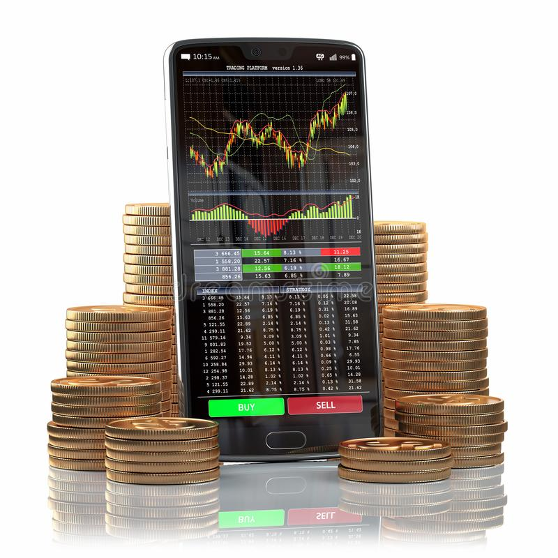 Mobile phone with forex application  on the screen and stacks of coins. Online stock trading, stock exchange and cryptocuurency stock illustration