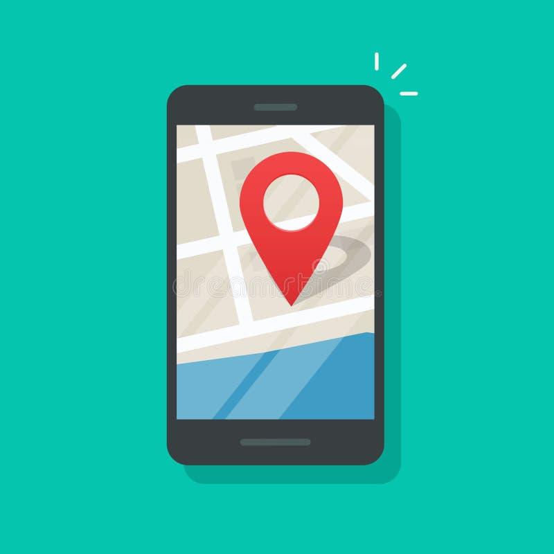 Mobile phone geo location, smartphone gps navigator city map pin vector illustration
