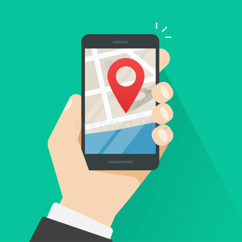 Mobile phone geo location, smartphone gps navigator city map pointer royalty free illustration