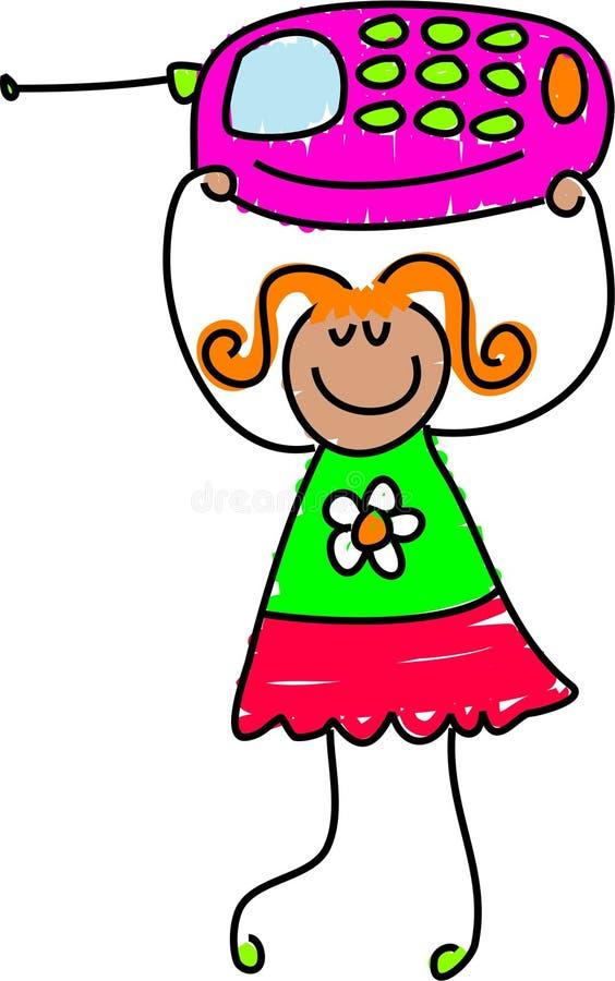 Mobile phone girl stock illustration