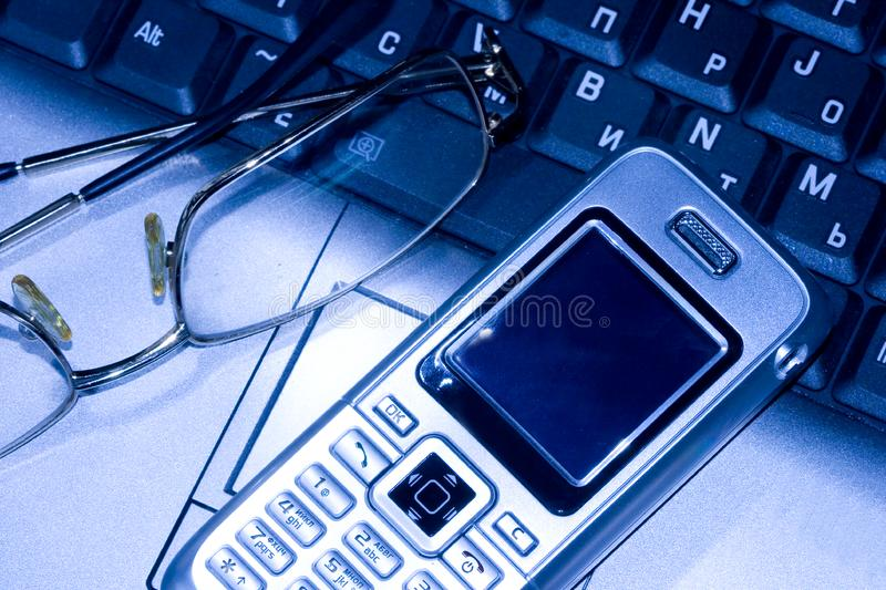 Download Mobile phone and glasses stock image. Image of glasses - 3000005