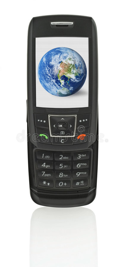 Download Mobile phone with globe stock image. Image of black, phone - 2605581