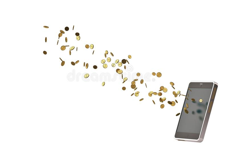 Mobile phone with gold coins.3D illustration. Mobile phone with gold coins. 3D illustration vector illustration