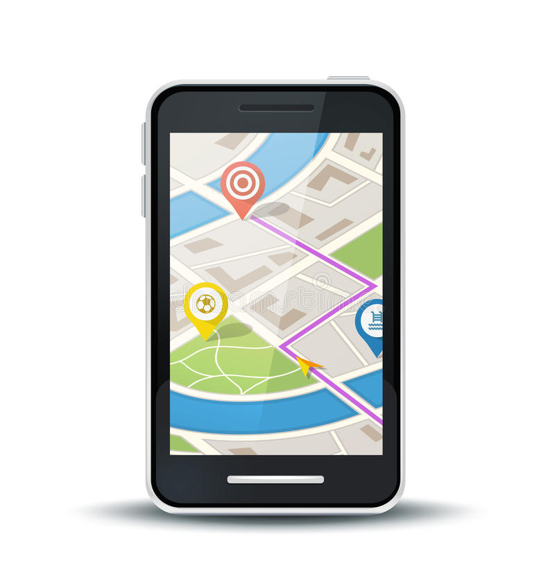 Mobile phone with gps map application. 3 pins included vector illustration