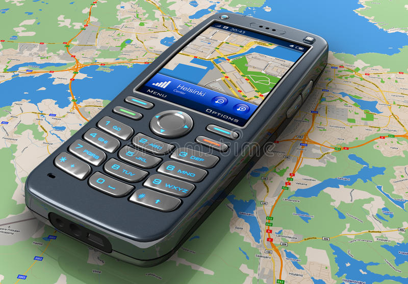 Mobile phone with GPS navigation royalty free illustration