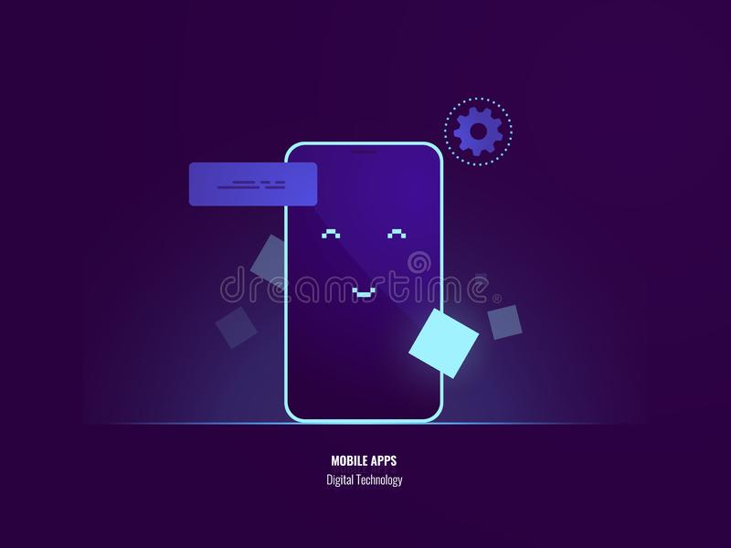 Mobile phone greeting, happy face on screen of smartphone, smiling, digital technology, mobile application flat vector royalty free illustration