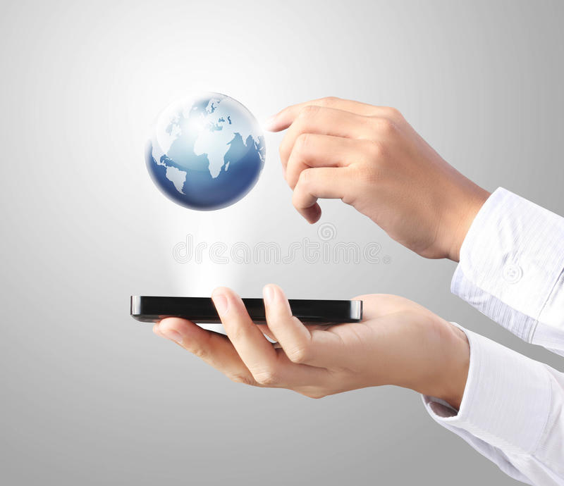 Download Mobile phone in hand stock illustration. Image of portable - 26601876