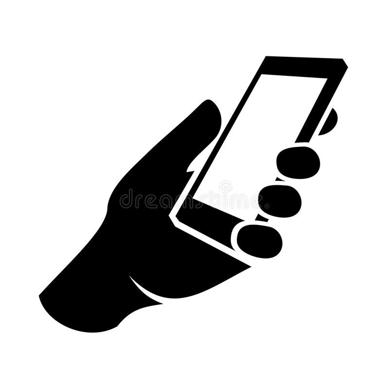 Mobile phone in hand icon. Vector stock illustration