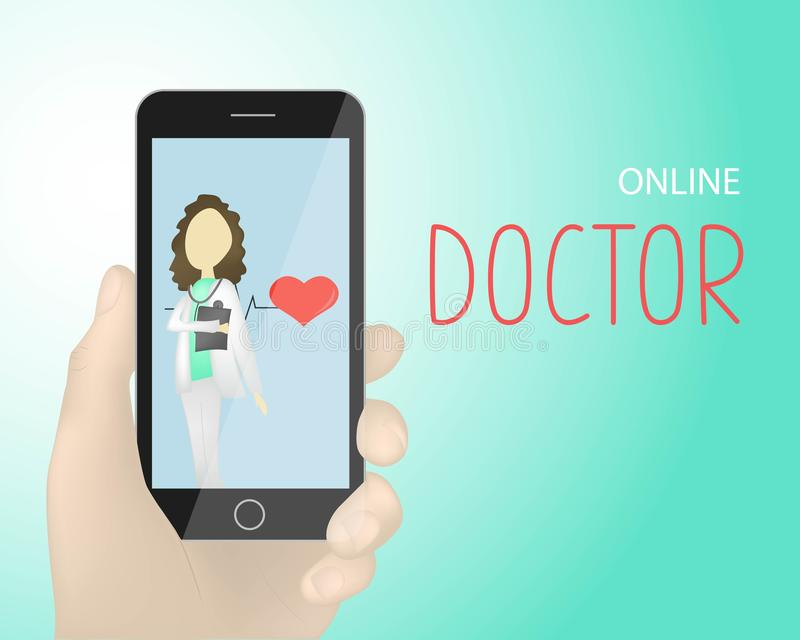 Hand holding smartphone vector, black mobile phone in hand illustration isolated on gradient background.Doctor on the screen. vector illustration