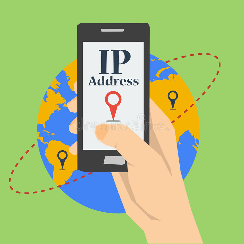 Mobile phone at hand - IP Address. Vector flat square concept of IP address. Banner with mobile phone in hand with search pointer on screen on gliobe planet royalty free illustration