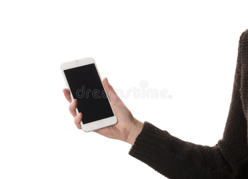 Mobile phone in hand royalty free stock photo