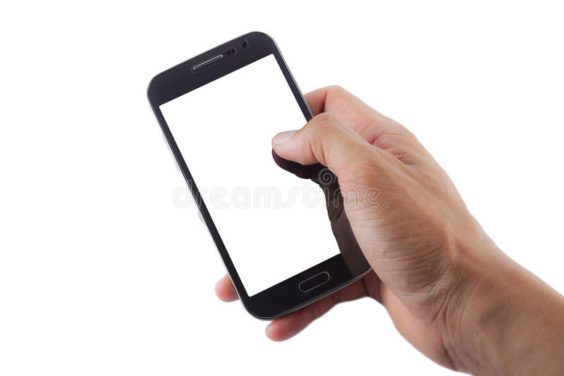 Mobile phone in hand. On white background