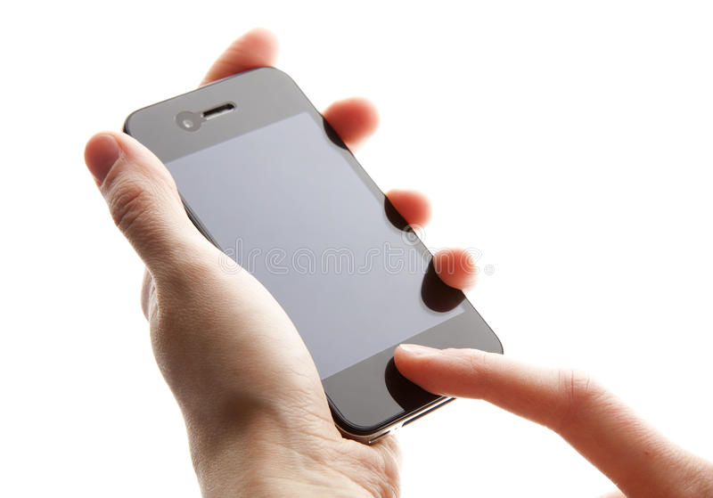 Mobile phone in the hands. On white