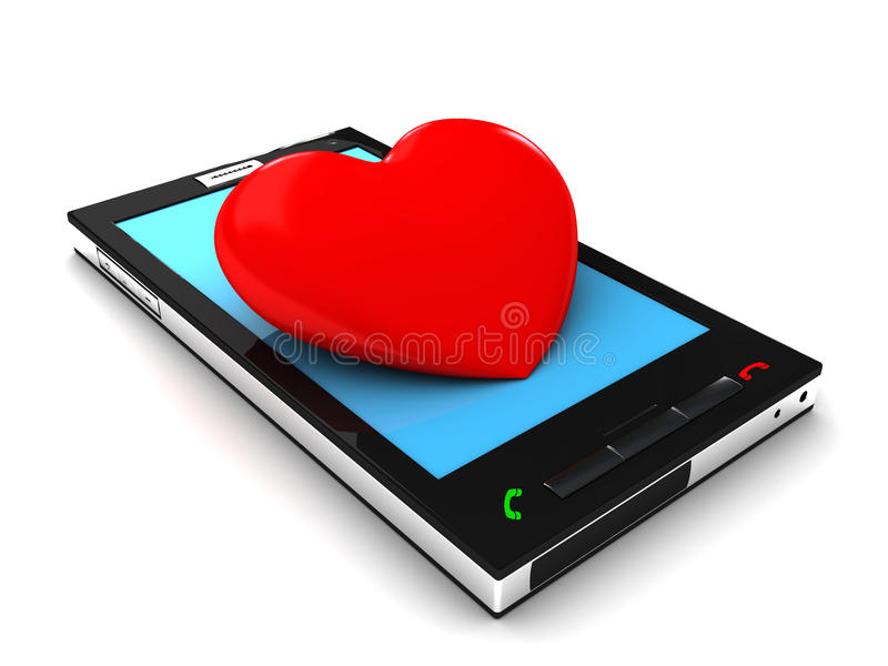 Download Mobile phone and heart stock illustration. Image of connection - 23022258