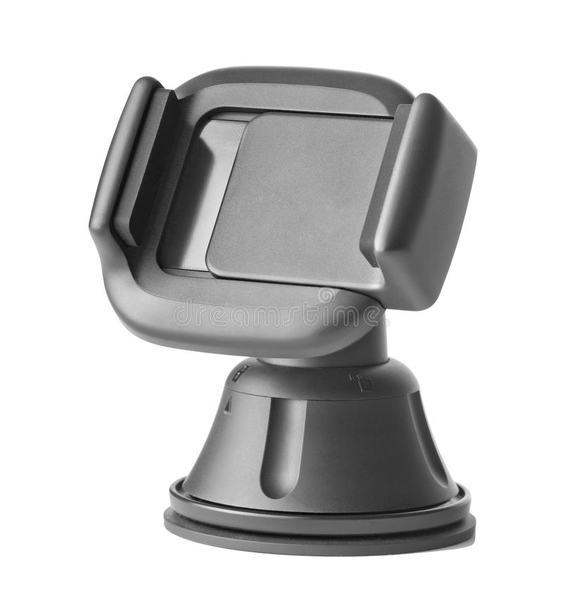 Mobile Phone Holder. Photo of an isolated mobie phone holder for car windows. Lock signs are visible. The object is isolated on white royalty free stock image