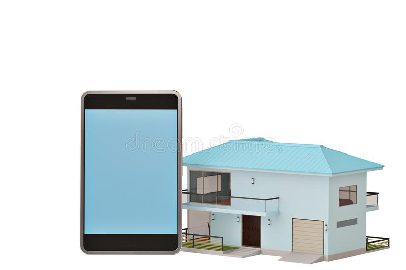 Mobile phone with home on white.3D illustration. royalty free illustration