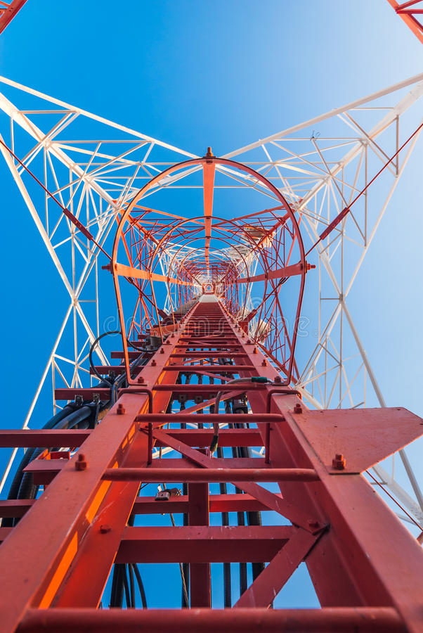 Mobile phone hotspot. Mobile tower situated in the countryside, making communication much easier today stock photos