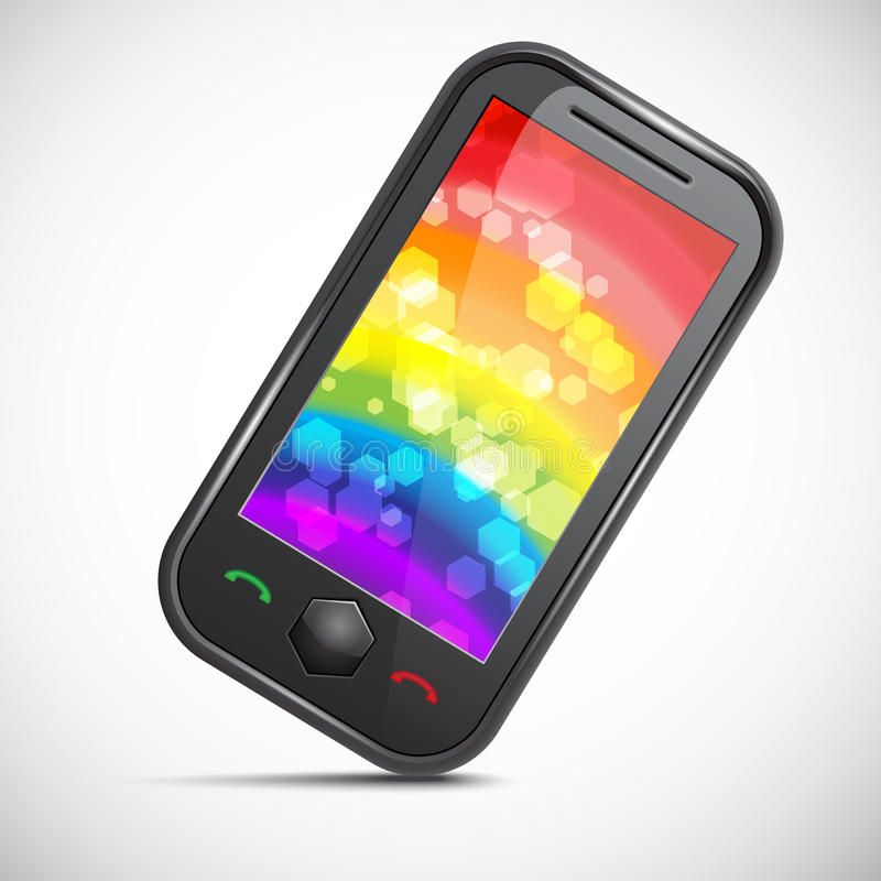 Mobile phone icon. Icon of a modern mobile phone with an abstract colourful background vector illustration