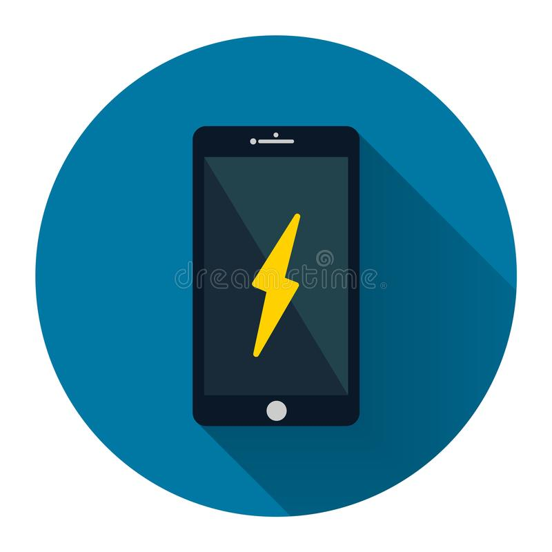 Free Mobile Phone Icon Alarm On The Screen With Long Shadow Black,Simple Design Style.vector Illustration Royalty Free Stock Photo - 113897365