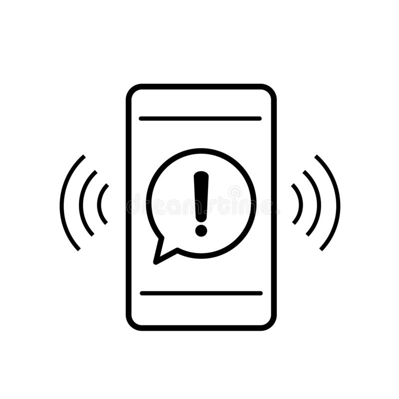 Mobile phone icon with danger warning attention sign in a speech bubble vector illustration