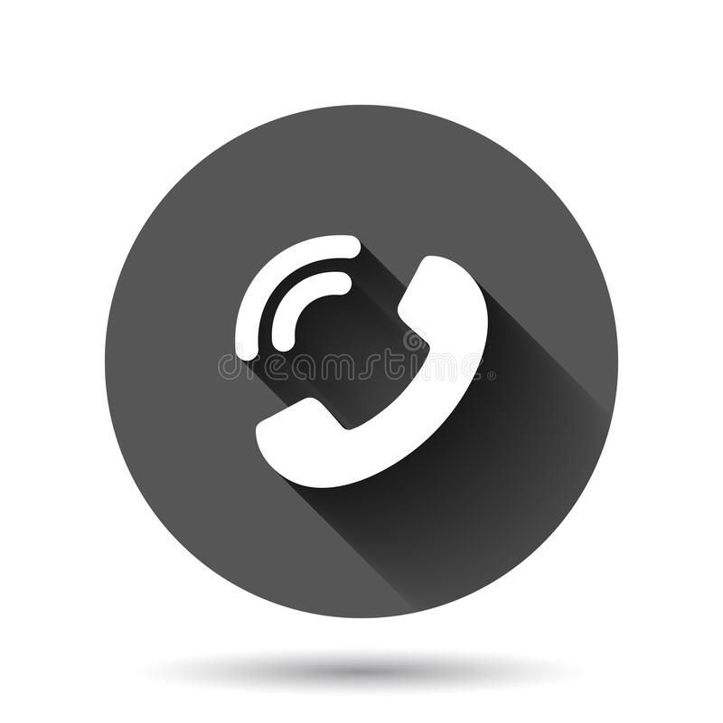 Free Mobile Phone Icon In Flat Style. Telephone Talk Vector Illustration On Black Round Background With Long Shadow Effect. Hotline Stock Images - 187669584