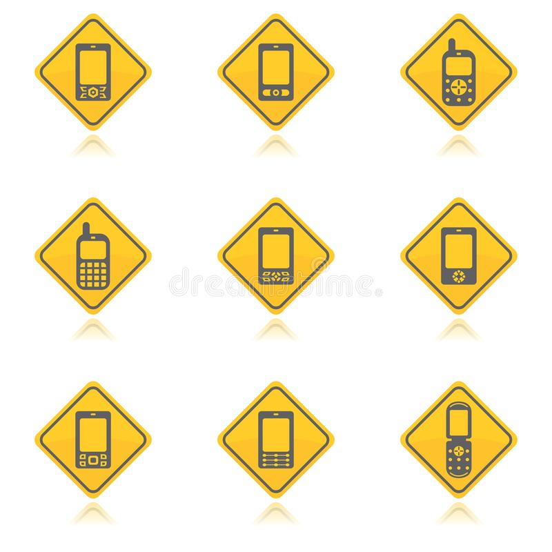 Mobile phone icon pack. Two colors mobile phone icon set stock illustration