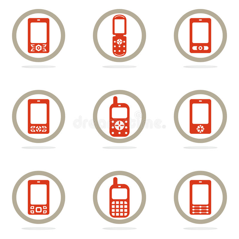 Download Mobile phone icon set stock vector. Image of icons, telephone - 24977665
