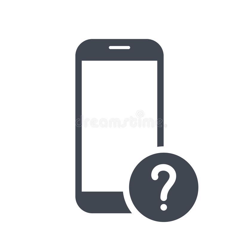 Free Mobile Phone Icon With Question Mark. Mobile Phone Icon And Help, How To, Info, Query Symbol Stock Photos - 112120063