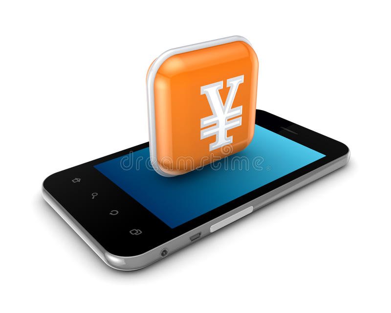 Download Mobile Phone And Icon With Yen Symbol. Stock Illustration - Image: 28860630
