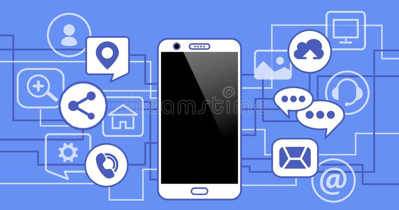 Mobile phone with icons. Concept of communication in the network. stock illustration