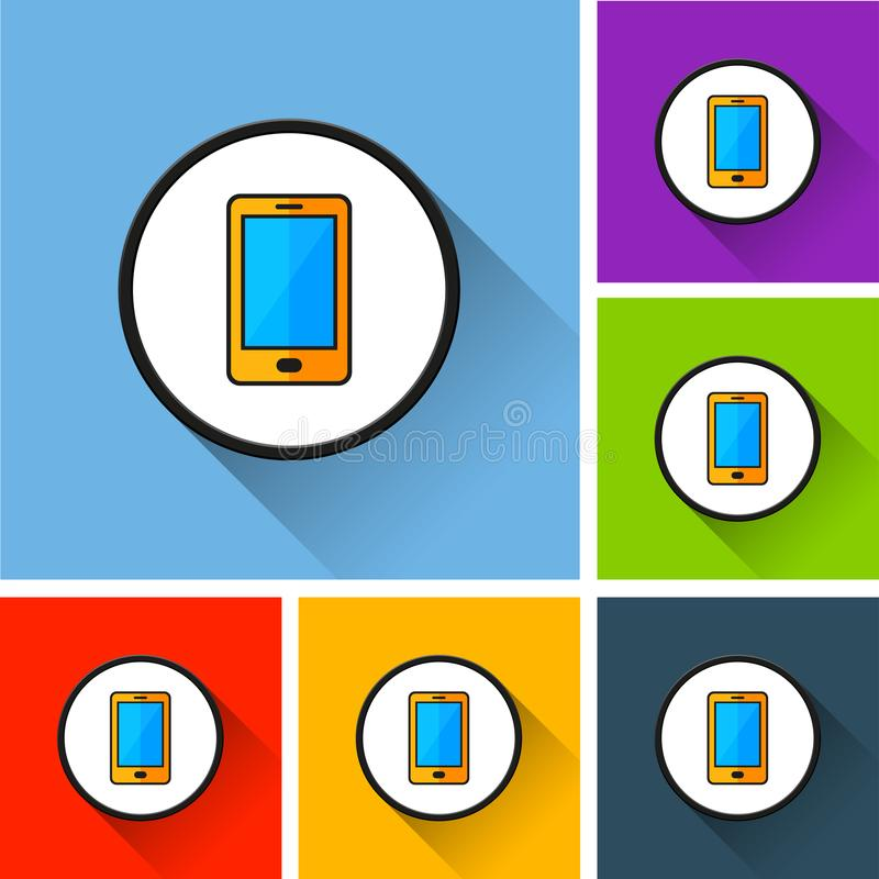 Mobile phone icons with long shadow vector illustration
