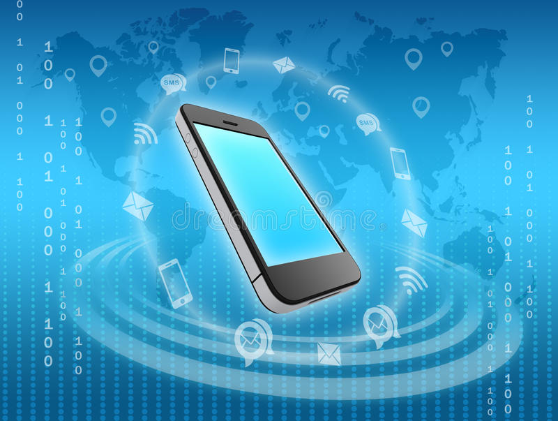 Mobile phone icons surrounded by information stock illustration