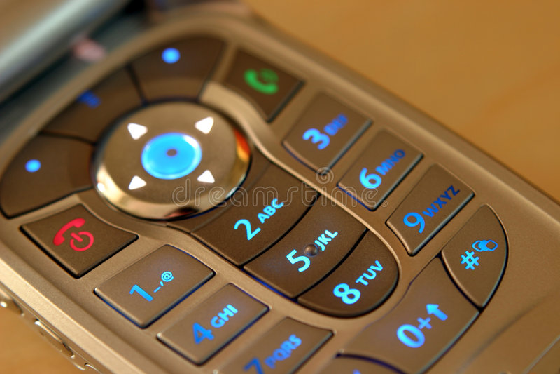 Mobile Phone, Illuminated Keypad royalty free stock image