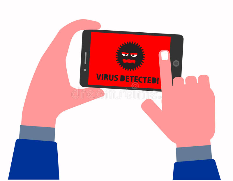 Mobile Phone Infected with Virus Concept stock illustration