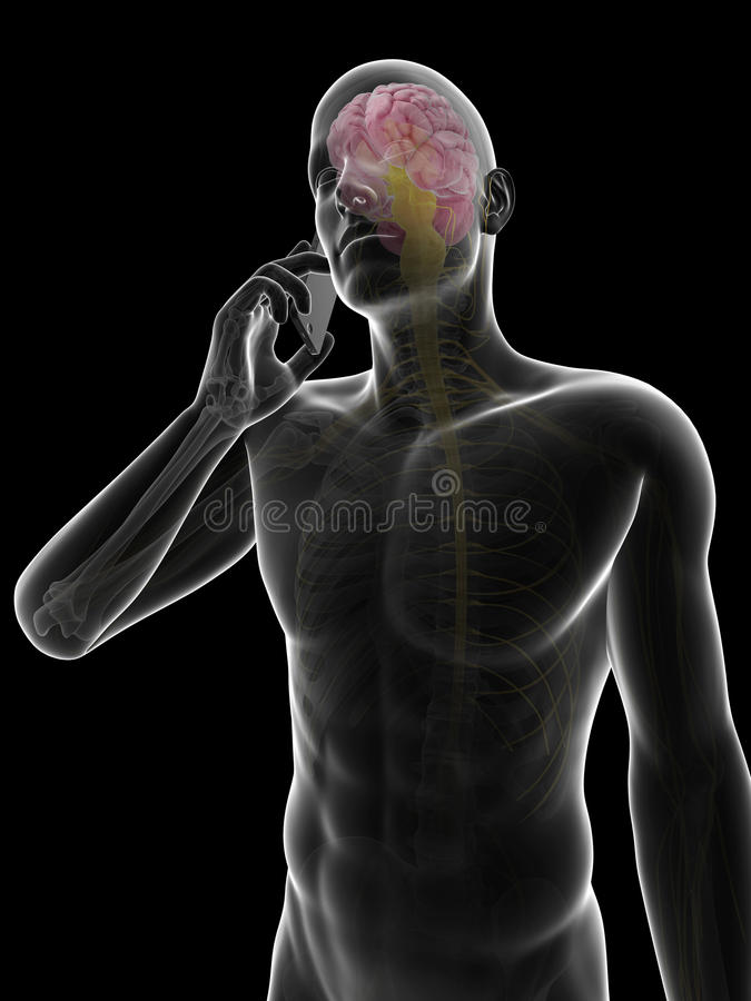 Mobile phone influence on the brain. 3d rendered illustration of a mobile phone influence on the brain stock illustration