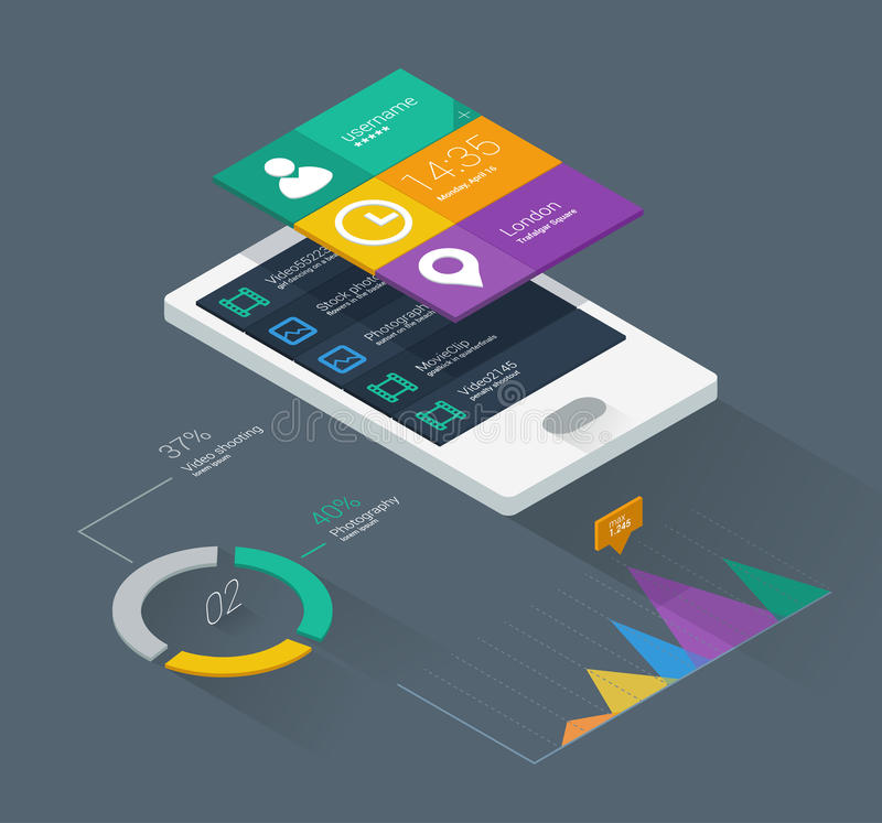 Mobile phone infographics. In flat color design royalty free illustration
