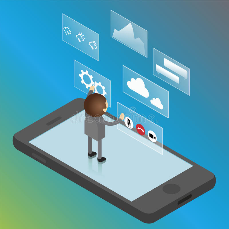 Mobile phone interface isometric concept. Man is standing on mobile phone vector illustration