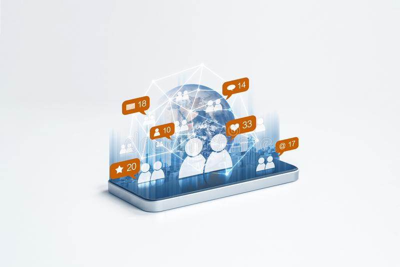 Mobile phone internet network with social network and social media notification icons. Element of this image are furnished by NASA stock illustration