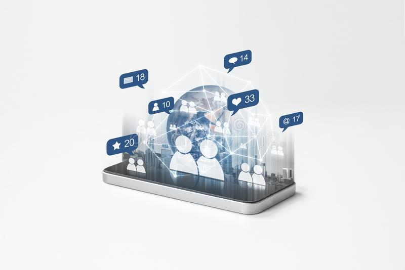 Mobile phone internet network with social network and social media notification icons. Element of this image are furnished by NASA vector illustration