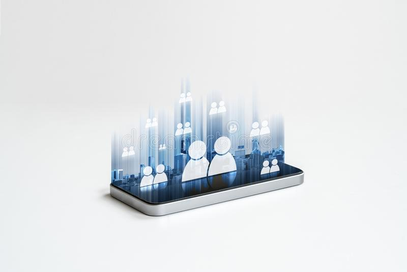 Mobile phone internet network, social networking and communication technology royalty free illustration