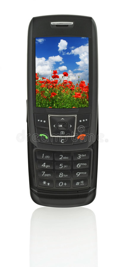 Mobile phone with landscape stock photography