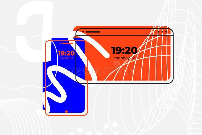 Mobile phone and laptop. UI UX design. Illustration. Concept. Art royalty free illustration