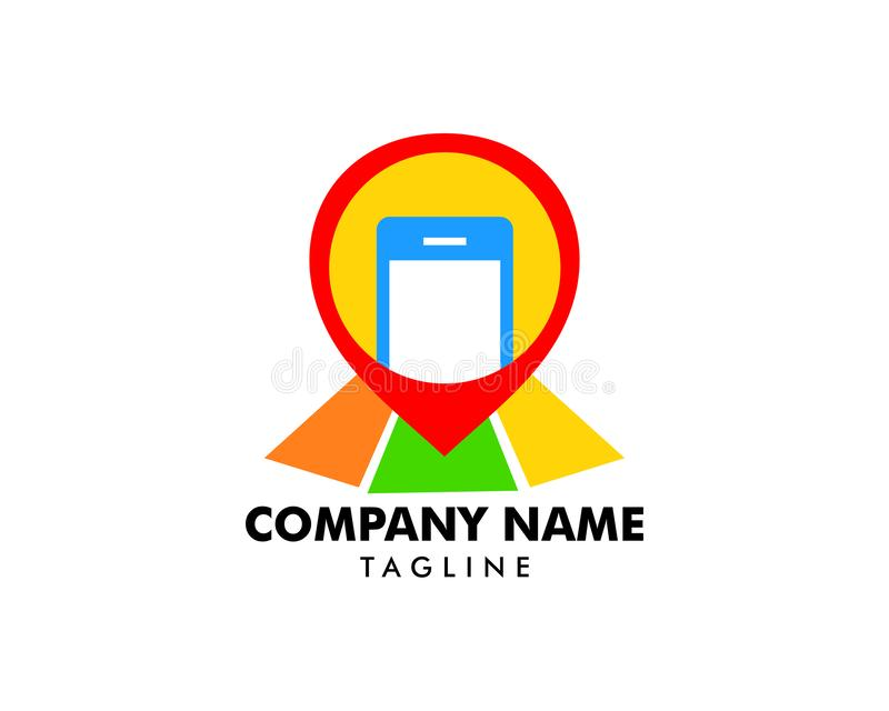 Mobile phone location vector logo template concept illustration. Mobile phone location vector logo royalty free illustration