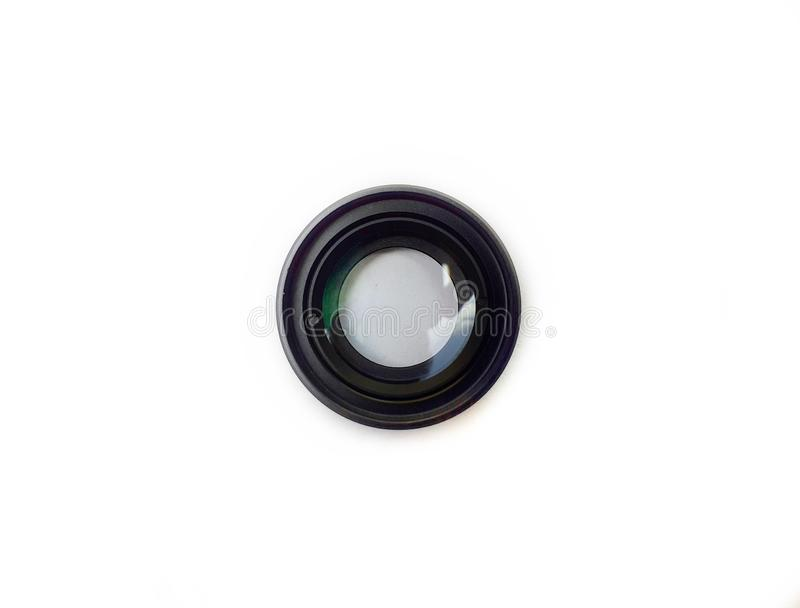 Mobile phone macro lens isolated on white background. Black colour 20x macro lens for smartphone royalty free stock photography