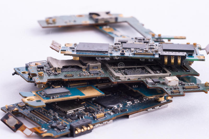 Mobile phone mainboard isolated. Mobilephone mainboard isolated white background stock images