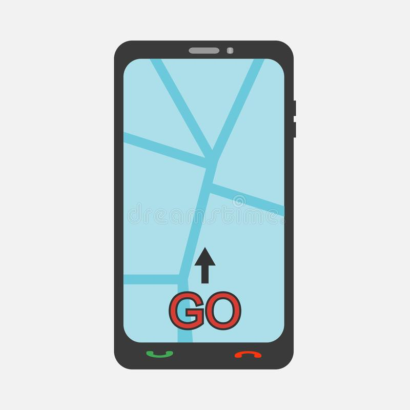 Mobile phone with map and arrow. Vector illustration. vector illustration