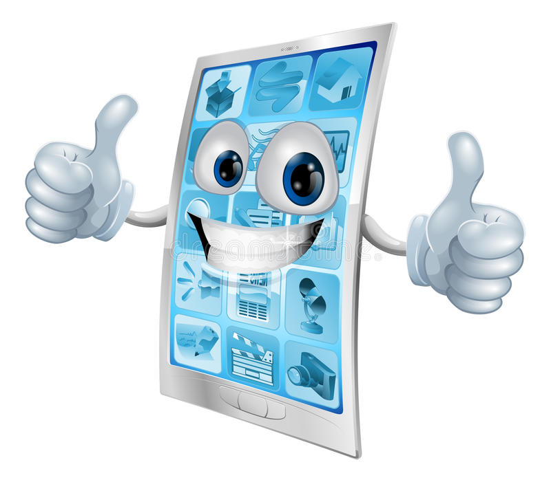 Download Mobile Phone Mascot Double Thumbs Up Stock Vector - Image: 24113255